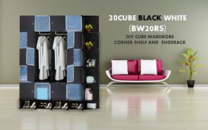 20Cube Black White DIY Cube w Corner Rack & Shoerack (BW20RS)