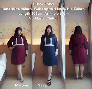 ED59 *Ready Stock *Bust 40-46inch/ 101-117cm