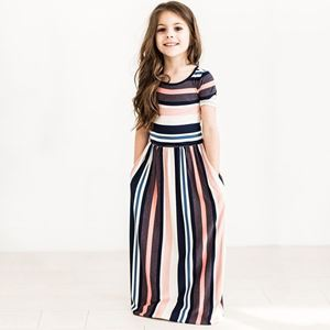 GIRLS SUMMER STRIPY DRESS WITH SHORT SLEEVE