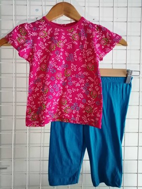 Baby Girl Set : Hot Pink Floral Turqoise Pant size 9m - 24m