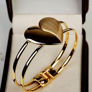 Heart Bracelet  - Personality Fashion Polished Exaggeration Double Bracelet Face Heart