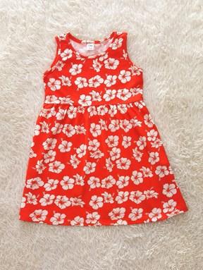Kids Dress HIBISCUS Orange  RED : (1y - 6y) TW