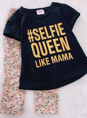 Girl Set Black Selfie With Flower Beige Pant (3y)