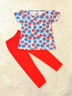 [SIZE 1/2Y, 7/8Y] Girl Set : LOVELY DREAMER FLOWER BLUE WITH RED PANT (1y - 8y) SDM