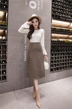 Houndstooth Woolen Skirt