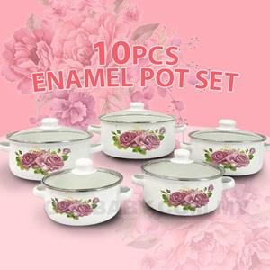 10PCS ENAMEL POT SET