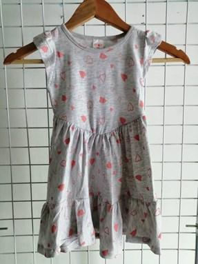 Princess Dress V2 : GREY WITH PEACH LOVE , size 4-6