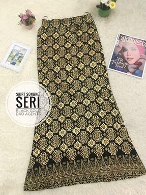 Skirt Songket Seri Black Gold