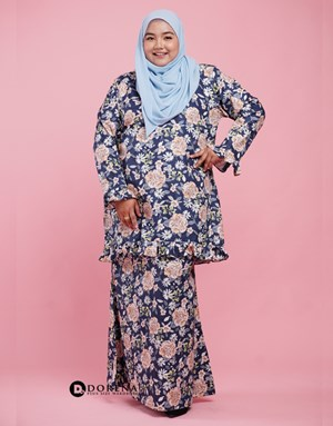 Kurung Cotton Aisya (Blue)
