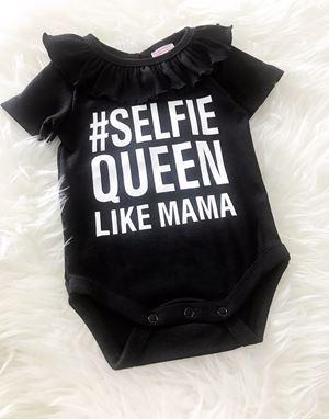 Baby Rompers Ruffle Collar - Selfie Queen Black