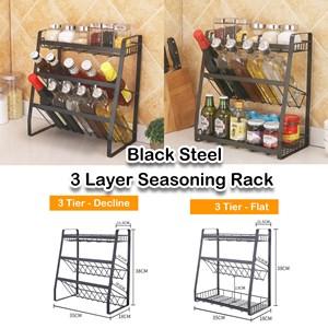 Black Steel 3 Layer Seasoning Rack Anti-Rust 3 Tiers Kitchen Organizer Bottles Rak Dapur Stainless Steel