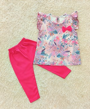 Baby Girl Set : UNICORN FLORAL PINK WITH HOT PINK PANT (9m - 36m) SPG