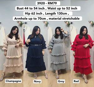 3920 Ready Stock *Bust 44 to  54 inch/ 111-137cm