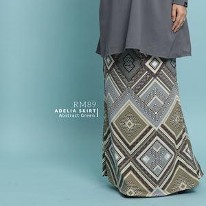 Adelia Skirt Printed : Abstract Green
