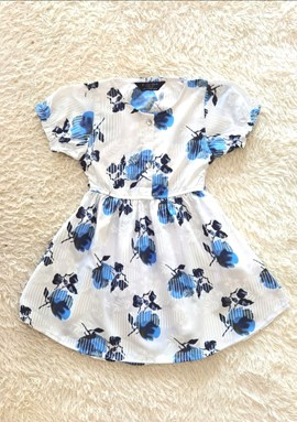 [SIZE 3Y] Baby and Kids Dress WHITE BLUE FLOWER Brand KF