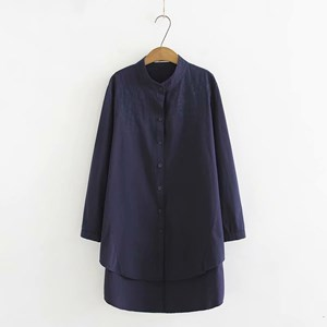 Oversized Embroidered Shirt (Dark Blue)