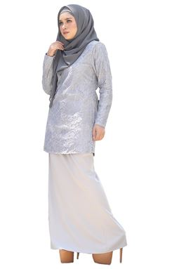 BLOW OUT CLEARANCE ~   Kurung Moden Lace Auliya - Silver Grey