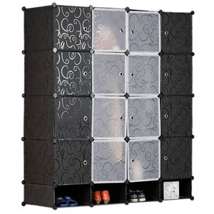 DIY 16Cube wardrobe + Shoe Rack ( Black )