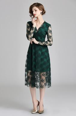 Retro Embroidery Green Lace Dress