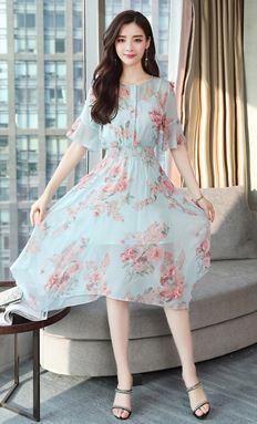 3D-Flower Chiffon Dress