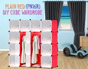 Plain Red 16Cube Diy Wardrobe (PN16R)