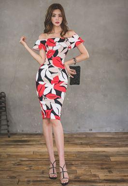 Off Shoulder Leaf Print Dress