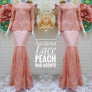 Kurung Suzana Lace Peach (Ready Stok)