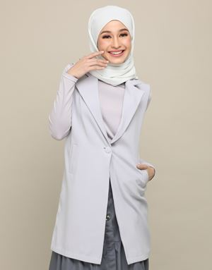 AFIYA LONG VEST IN GREY