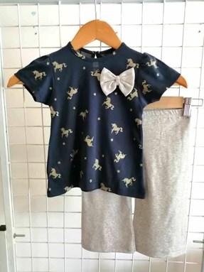 Baby Girl Set : Golden Unicorn With Grey Pant size 9m - 24m