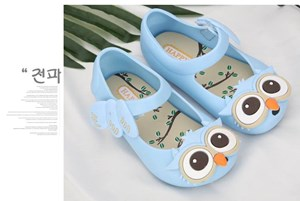 Light Blue Owl Jelly Shoes