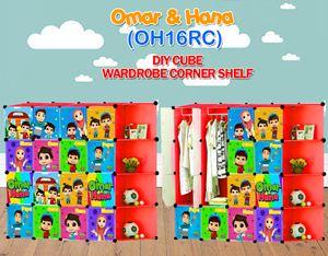 Omar & Hana RED 16C DIY WARDROBE w CORNER RACK (OH16CR)