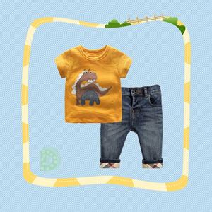 @  307-D  BOY SET  ( D ) - DINASOUR BROWN   ( T-SHIRT + JEANS )