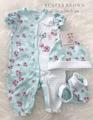 Buster Brown 3 in 1 Set (Mint Flower for Girl)