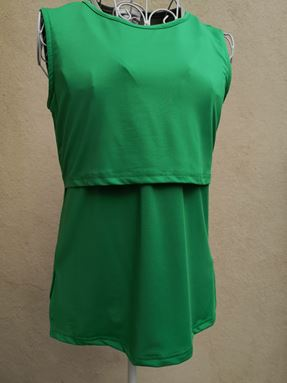 *Milk Silk* Sleeveless Nursing Inner (Green) Size Regular, Big