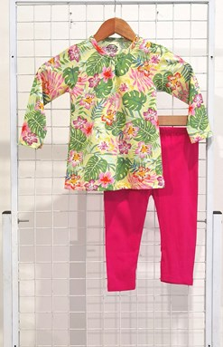 [SIZE 3/4Y , 5/6Y] Girl Set Long Sleeve : TROPICAL FLOWER YELLOW WITH HOT PINK PANT (3y - 8y) SPG