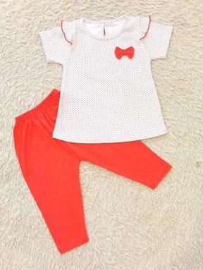 [SIZE 12/18M - 30/36M] Baby Girl Set : POLKA DOT WHITE WITH ORANGE PANT (9m - 36m) SPG