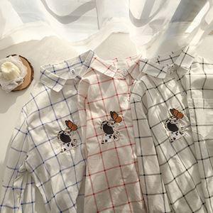 Animal Embroid Plaid Shirt