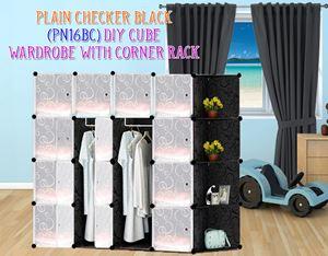 Plain Black 16C DIY Wardrobe With Corner Rack (PN16BC)