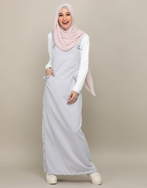 ADELINE OVERALL DRESS IN GREYSILVER