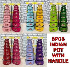 8PCS INDIAN POT WITH HANDLE