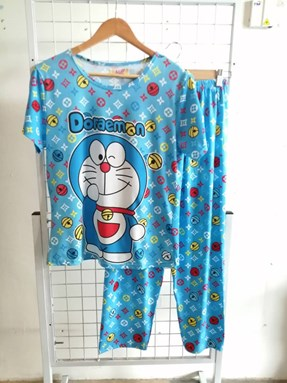 Pyjamas Dewasa Short Sleeve Doraemon LV Light Blue