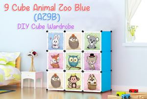 Animal Zoo 9 Cube Blue DIY Wardrobe (AZ9B)
