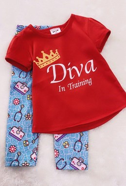 Girl Set RED DIVA WITH BLUE PANT (9/12m - 5y)