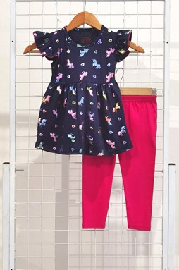 [SIZE 1/2Y ] Girl Set Frock : COLORFUL UNICORN DARK BLUE WITH HOT PINK PANT (1y - 6y) SPG