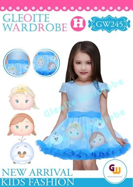 @  GW 245 DRESS  { H ~ PRINCESS BLUE }  ( SZ 2Y - 13Y )