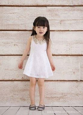 G040/13 WHITE DRESS 夏季装新款韩版 女童连衣裙 儿童背心裙女宝蕾丝公主裙