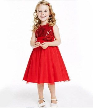 @  2014154-021   BLING RED DRESS ( 3 FLOWER )
