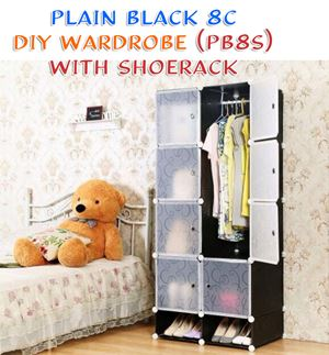 Plain Black 8C DIY WARDROBE w SHOERACK (PB8S)