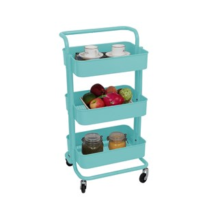 3 LAYER STEEL STORAGE TROLLEY + HANDLE