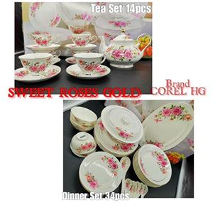 COMBO COREL-HG 34PCS DINNER SET + 14PCS TEA SET (GOLD LINING) - SWEET ROSES GOLD